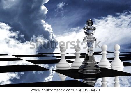 Stockfoto: 3d · man · schaakbord · koning · rol · witte · boord