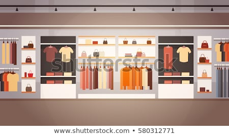 females shopping store purchasing clothes vector stock photo © robuart