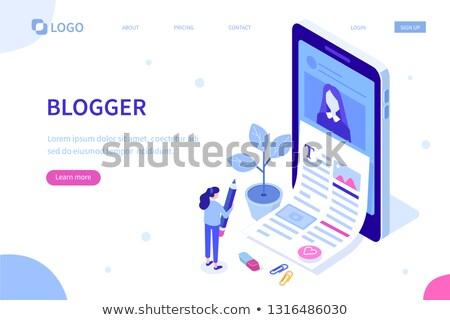 Isometrische vector creatieve schrijven inhoud papier Stockfoto © TarikVision