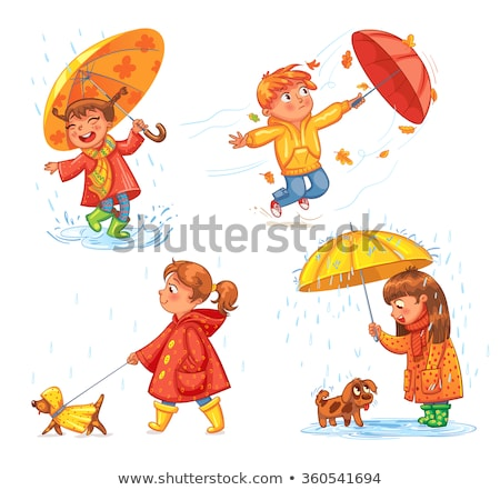 little boy walking a dog under umbrella in the rain vector isolated illustration stock photo © pikepicture
