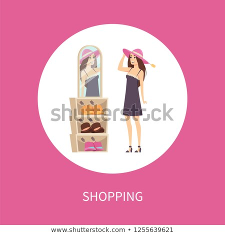 Shopping Woman Client Trying Headwear Hat Vector Stock photo © robuart