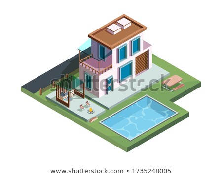 Vector isometric patio with barbecue and pool Stock photo © tele52