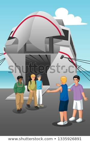 Young Men Coming Out from the Ferry Illustration Stock photo © artisticco