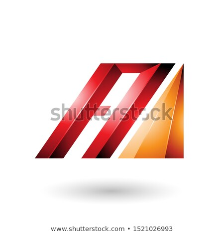 red and orange letter a of glossy diagonal bars stock photo © cidepix