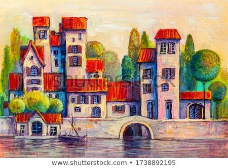 Ortaçağ çatı katı örnek ev Bina inşaat Stok fotoğraf © Dazdraperma
