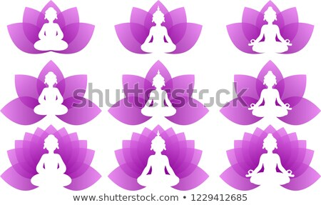 buddha · Lotus · set · logo · illustrazione - foto d'archivio © Blue_daemon
