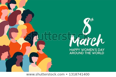 womens day 8th march card of woman at protest stock photo © cienpies