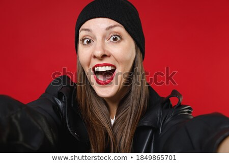 Portrait closeup of shocked or surprised young woman 20s with do Stock photo © deandrobot
