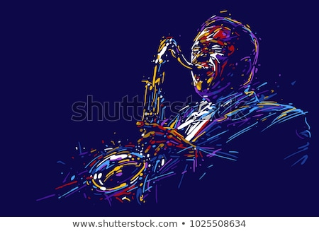 Vector jazz poster with trumpet jazz musician Stock fotó © Giraffarte