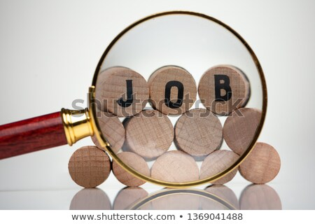 Job Text Wooden Blocks Behind Magnifying Glass Stock photo © AndreyPopov