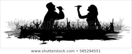 Insanlar şarkı söyleme şarkı göstermek vektör mavi Stok fotoğraf © robuart