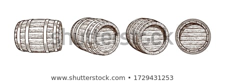 Hand Drawn Standing Vintage Wooden Barrel Vector Stock photo © pikepicture