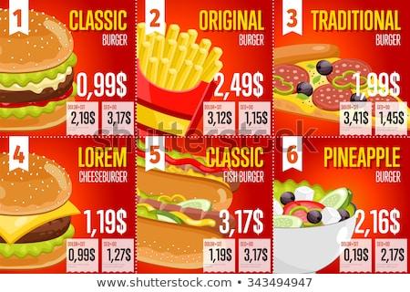 Burger perro caliente pizza precio etiqueta plantilla Foto stock © romvo