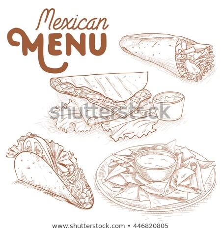 grunge · vintage · mexican · tacos · affiche · illustration - photo stock © netkov1