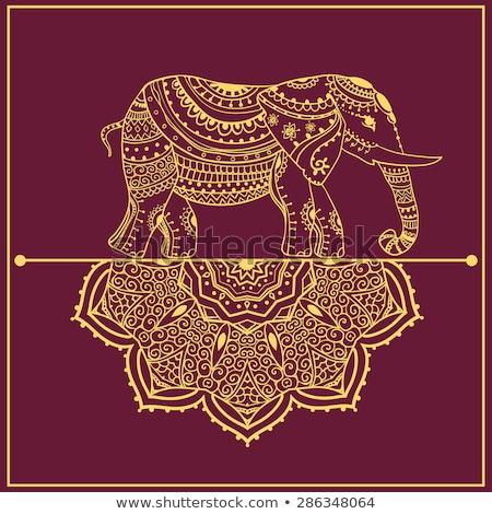 India hand drawn vector doodles illustration. Indian frame card design. Stock photo © balabolka