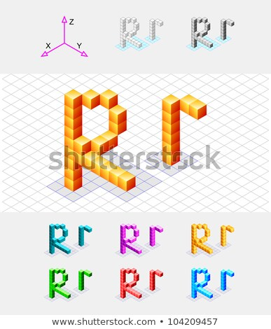 Cube grid Letter R 3D Stock photo © djmilic