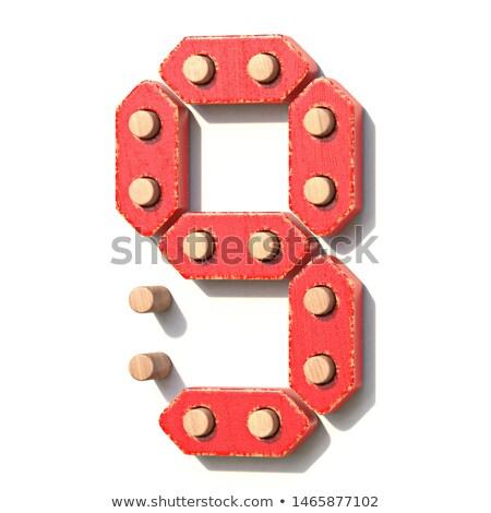 Houten speelgoed Rood digitale aantal negen 3D Stockfoto © djmilic