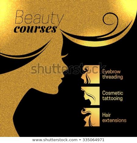 Szépségszalon poszter szett vektor szöveg minta Stock fotó © robuart