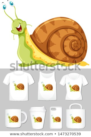 Graphic of snail on different product templates Stock photo © bluering