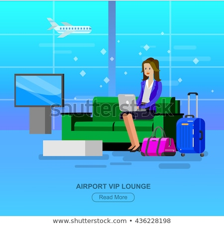 traveler male in departure lounge airport vector stock photo © robuart