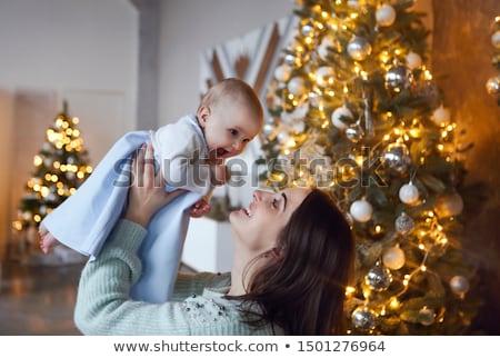 Piękna szczęśliwy matka córka sweter posiedzenia Zdjęcia stock © dashapetrenko