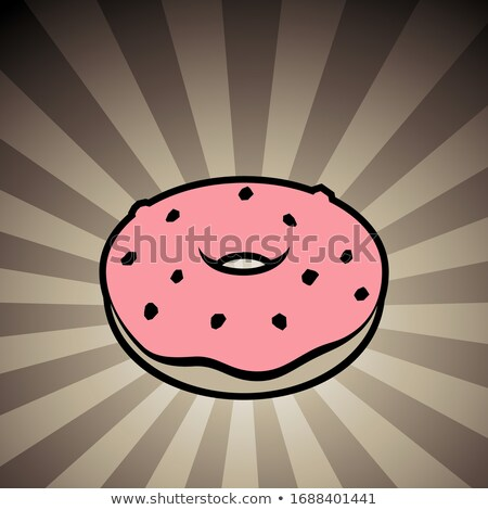 Doughnut Icon on a Brown Striped Background Stock photo © cidepix