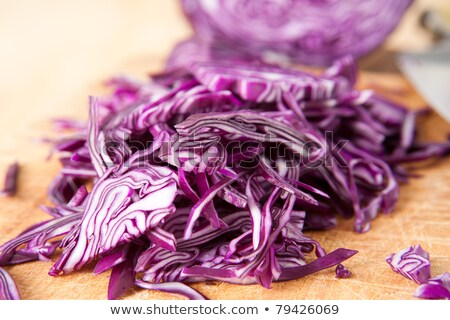 chopped red cabbage on a cutting board stock photo © lichtmeister