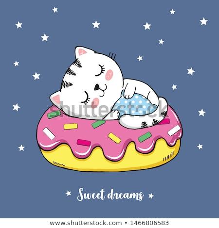 cute cat sleeping on a pink pillow cartoon hand drawn style stock photo © amaomam