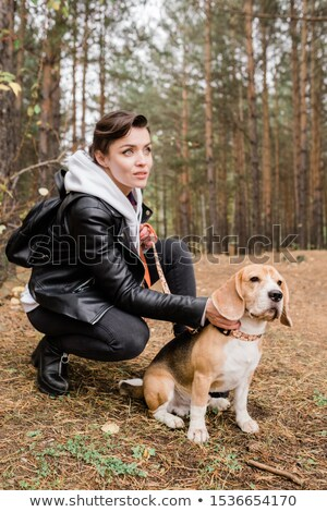 Pretty young brunette woman cuddling cute beagle puppy while sitting on squats Stock photo © pressmaster