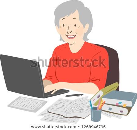 Senior Frau Schriftsteller Laptop stellt fest Illustration Stock foto © lenm