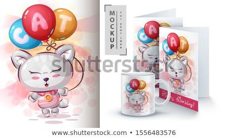 Kitty Plakat Vektor eps 10 Stock foto © rwgusev