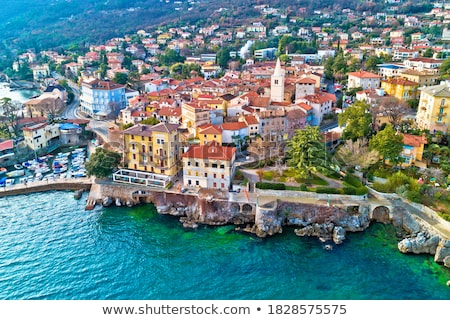 town of lovran and lungomare sea walkway aerial view kvarner ba stock photo © xbrchx