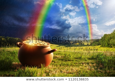 Pot of Gold Coins at End of the Rainbow Stock photo © Krisdog