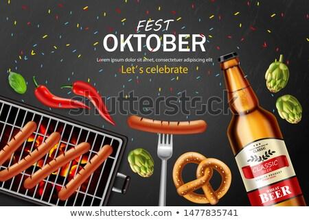 Cerveja pretzel grelhado salsicha vetor realista Foto stock © frimufilms