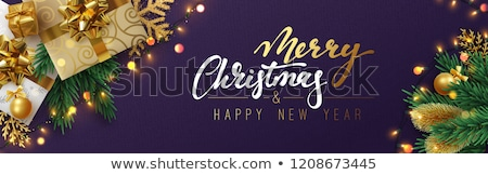 red sparkle merry christmas flyer poster template design Stock photo © SArts