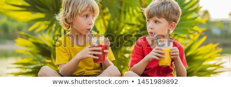 Banner lang formaat twee jongens drinken Stockfoto © galitskaya