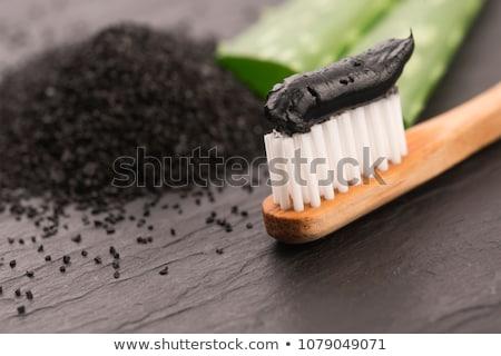 Escova de dentes preto carvão vegetal creme dental fundo dentista Foto stock © joannawnuk