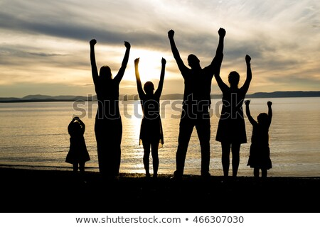 six family member at beach silhouette sunset Stock photo © Lopolo