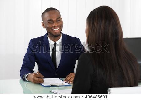 Női menedzser férfi pályázó fiatal iroda Stock fotó © AndreyPopov