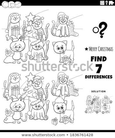 differences task with cartoon cats coloring book page Stock photo © izakowski