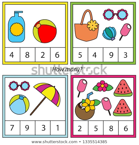 Math educational game for children. Addition worksheet - count and color Stock photo © natali_brill