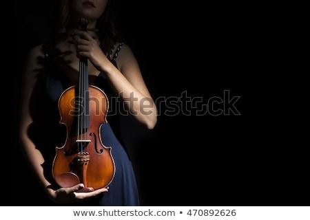 Nő hegedűművész játszik klasszikus barokk hegedű Stock fotó © Giulio_Fornasar
