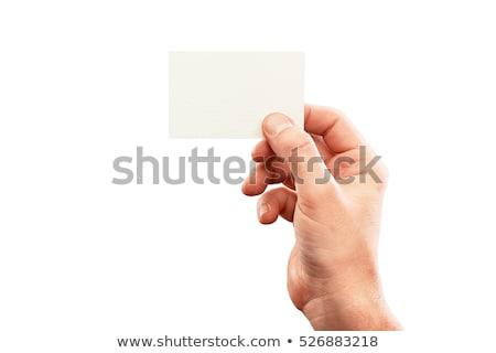 mão · cartão · isolado · branco · negócio - foto stock © get4net