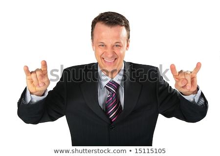 бизнесмен Gangster широкий пальцы глаза лице Сток-фото © Paha_L