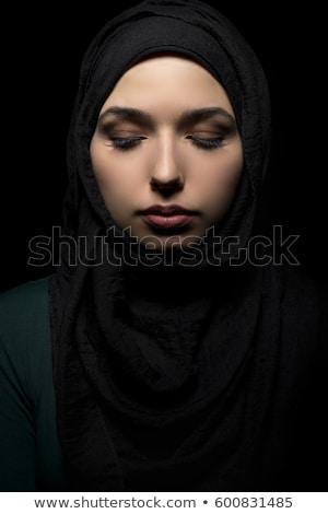 Foto stock: Hermosa · europeo · musulmanes · mujer · teléfono · feliz