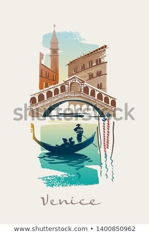 símbolos · Veneza · canal · ver · gôndola · máscara - foto stock © dayzeren