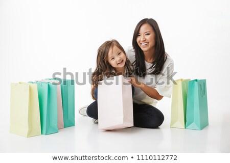 Stockfoto: Moeder · dochter · winkelen · markt · samen · familie