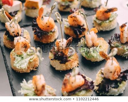 Canape with shrimps Stock photo © joker