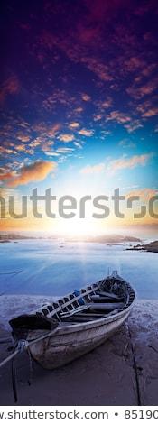 Barco praia madrugada longa exposição tiro Foto stock © moses