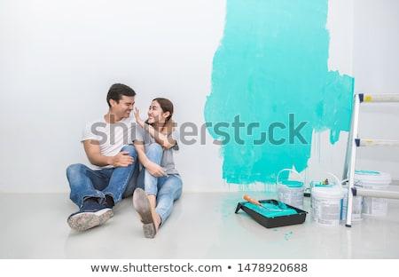 para · malarstwo · ściany · czerwony · człowiek · pracy - zdjęcia stock © photography33